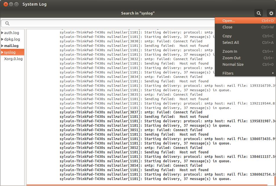 ubuntu gnome-system-log